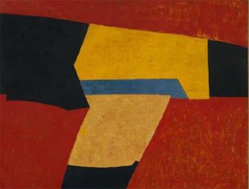Serge Poliakoff/Composition abstraite à la bande bleue, 1951/Huile sur toile/89 x 116 cmCollection particulière, Francfort/© droits réservés