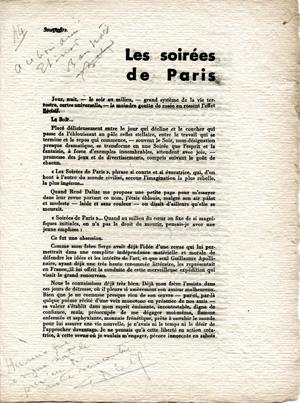 Extrait du catalogue de l'exposition Breteau consacrée à Apollinaire. (1943) Source: Alban Roussot
