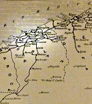 Ancienne carte de l'Algérie française. Collection et photo: PHB