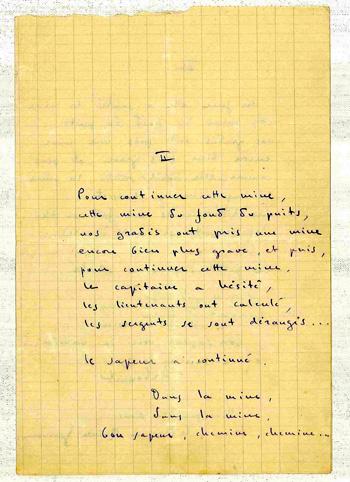 Manuscrit de La Chanson du sapeur/Collection Gérard H. Goutierre