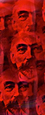 Montage stylisé de Stéphane Mallarmé d'après une photographie (1896) de Nadar