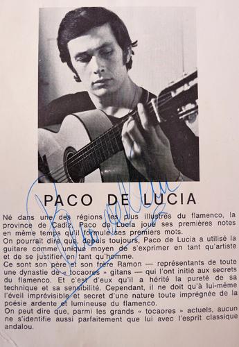 Extrait d'un programme du ballet d'Antonio Gadès signé par Paco de Lucia, alors âgé de 20 ans. Collection: Gérard Goutierre