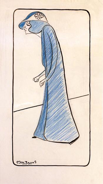 Caricature de l'actrice Effie Shannon. Par Marius de Zayas en 1912. Source image: Galerie 1900/2000, 8 rue Bonaparte.