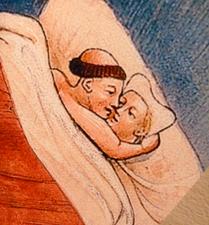 """détail de l'iconographie de l'exposition """"l'amour au Moyen Age"""" à la Tour Jean sans Peur. Photo: Les Soirées de Paris"""