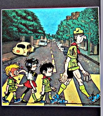 La célèbre parodie de l'album Abbey Road (Beatles) par Gotlib et ses louveteaux. Photo: Les Soirées de Paris