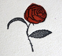 La rose rouge symbole des Editions Bernouard. Photo: Gérard Goutierre