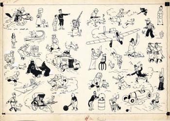 GEORGES REMI dit HERGE (1907 – 1983)Encre de Chine pour les pages de garde des albums des aventures de Tintin publiés de 1937 à 1958Dessin – 35 x 53 cmVendue le 24 mai 20142 654 400 € (frais inclus)