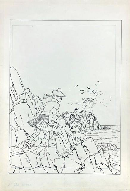 GEORGES REMI dit HERGE (1907 – 1983)/Encre de Chine pour la couverture de l'album « L'Île noire », édition grande image noir et blanc publiée en 1942 chez Casterman/Dessin – 51 x 35 cm/Vendue le 24 mai 2014 1 011 200 € (frais inclus)