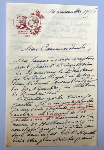 Lettre de André Billy à Vincent Auriol. Collection: Les Soirées de Paris
