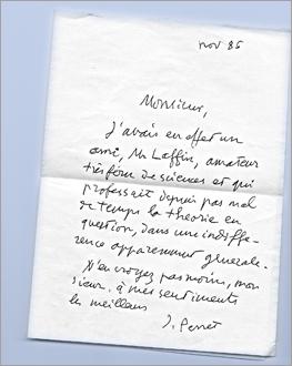 La lettre de Jacques Perret. Source image: Les Soirées de Paris