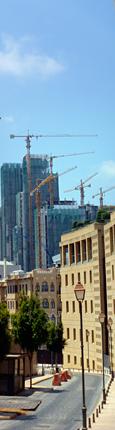 La poussée des nouveaux buildings vue depuis le centre historique de Beyrouth. Photo: LSDP