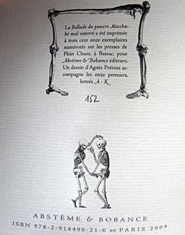 """Troisième de couverture de la """"Ballade du pauvre Macchabé mal enterré"""". Editions abstème et Bobance. Photo: LSDP"""