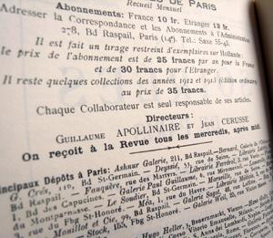 Organigramme des Soirées de Paris en juillet 1914. Photo: LSDP
