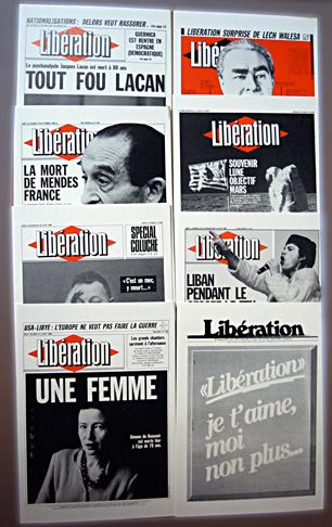 """""""Tout fout Lacan"""", """"Je t'aime moi non plus"""", l'histoire de Libération en deux titres. Photo: Les Soirées de Paris"""