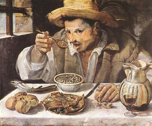 Le mangeur de haricots d'Annibale Carracci (1584). Le haricot commençait juste à se répandre en Europe ! (Source image libre de droits: Wikipedia)