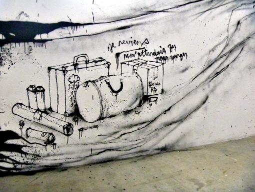 Œuvre de Dran sur les murs du Palais de Tokyo. Photo: LSDP