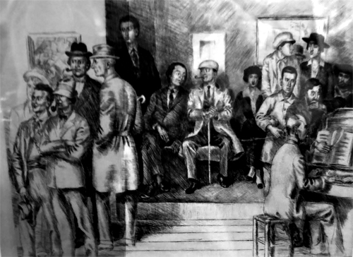 L'Atelier de la rue Huyghens tel que l'a représenté l'artiste suédois Arvid Fougstedt . Assis sur l'estrade, Picasso fume la pipe. Photo: Gérard Goutierre