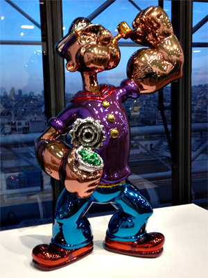 """Le """"Popeye"""" de Jeff Koons. Aspect de l'exposition. Photo: Valérie Maillard"""