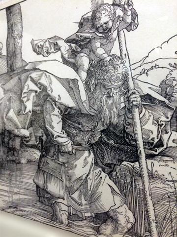 gravure de Dürer représentant Saint-Christophe le patron des voyageurs. Photo: Guillemette de Fos