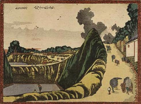 Le Fossé d'Ushigafuchi à Kudanzaka, Kudan Ushigafuchi, Début ère Bunka (vers 1804-1807), Estampe nishiki-e, format chūban, 18 × 24,5 cm, Signature : Hokusai Egaku, Paris, Bibliothèque nationale de France