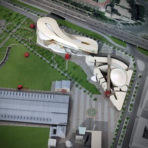 Un plan qui montre comment se serait intégré le projet Portzampac pour la Philharmonie.