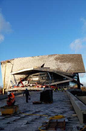 Etat du chantier de la Philharmonie, le 8 janvier. Photo: LSDP