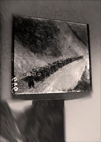 Convoyage de matériel à dos d'hommes. aspect de l'exposition. Photo: LSDP