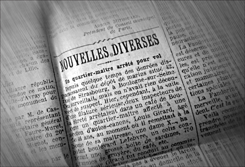 """Dans """"Le journal"""" 15 juillet 1915. Le quatier maître a volé des sardines et du gruyère. Photo: LSDP"""