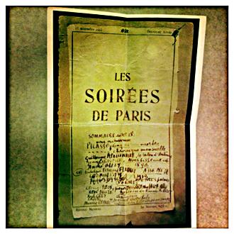 Sommaire du numéro 18 des Soirées de Paris: Picasso, Apollinaire... Photo: PHB