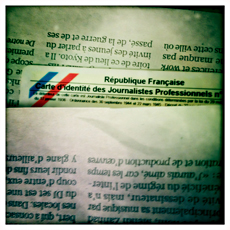 Carte de presse. Photo: PHB