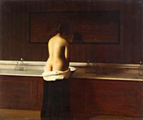 "Eugène Lomont. ""Jeune femme au bain"". RMN Grand Palais"