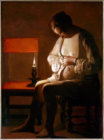 """Georges de la Tour. """"La femme à la puce"""". Nacy, Musée Lorrain."""