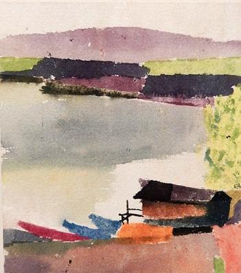 Klee, Petit-port, aquarelle sur papier et carton. 1914. Photo: Lottie Brickert
