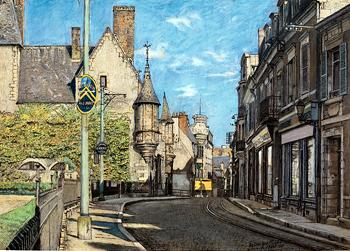 Marcel Bascoulard. Rue des arènes, 1941, encre, gouache et crayon de couleur. Photo: Olivier Brunet