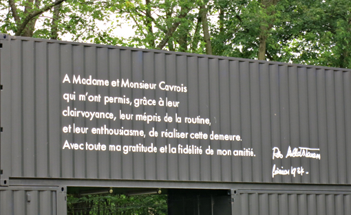 Message de reconnaissance de l'architecte. Photo: Gérard Goutierre
