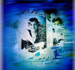 Anne Hidalgo sur une affiche électorale. Photo: Philippe Bonnet