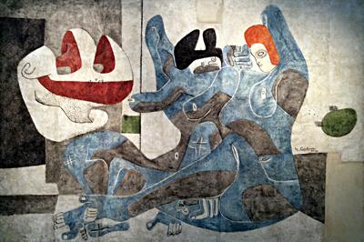 """""""Peinture murale pour la maison de Jean Badovici"""", à Vezelay, 1935-1936. Le Corbusier. Photo: Valérie Maillard"""