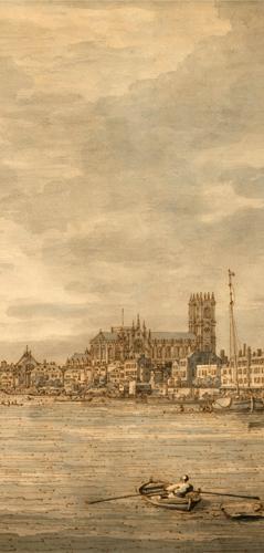 """""""Caprice avec une église sur un colline"""" ( vers 1760). Détail. Photo: Valérie Maillard"""