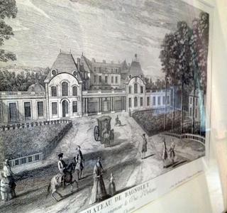 Le château de Bagnolet à la grande époque. Gravure exposée au pavillon de l'Ermitage. Photo: PHB/LSDP