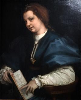 """""""Portrait d'une jeune femme au recueil de Pétrarque"""", vers 1528. Andrea del Sarto. Photo: Valérie Maillard"""