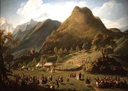 """""""La Fête des bergers à Unspunnen, le 17 août 1808"""". (1808-1809). Elisabeth Vigée Le Brun. Photo: Valérie Maillard"""
