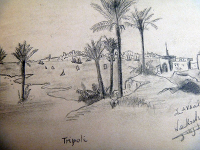 "Une vue de ""Tripoli"" par Guillaume Apollinaire. Détail de son album. Photo: PHB/LSDP"