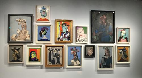 Mur d'oeuvres de Picasso au Grand Palais. Photo: Valérie Maillard
