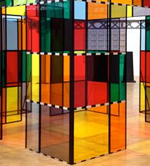 Détail d'une oeuvre de Daniel Buren exposée au Pavillon de l'Arsenal. photo: PHB/LSDP