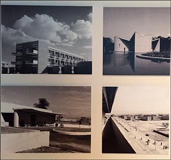 Photos de bâtiments publics à Chandigarh, années 1950-1960. aperçu de l'exposition. Photo: Valérie Maillard