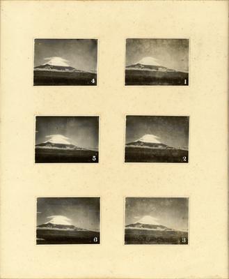 Transformations des nuages en capuchon au sommet du mont Fuji. 6 octobre 1928, de 5h30 à 7h environ. Photo: Masanao Abe (1891-1966