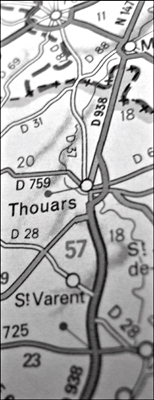 Thouars sur la carte Michelin. Photo: PHB/LSDP