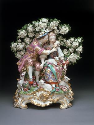 La Leçon de musique, porcelaine, manufacture de Chelsea, G.B. (vers 1765 © Victoria and Albert Museum