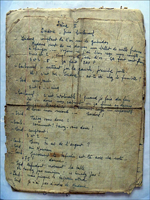 """L'écriture """"fine"""" de Maurice pour une pièce de théâtre. Source image: Bruno Sillard"""