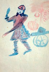 Apollinaire. Autoportrait en canonnier. Image extraite d'une vente aux enchères.